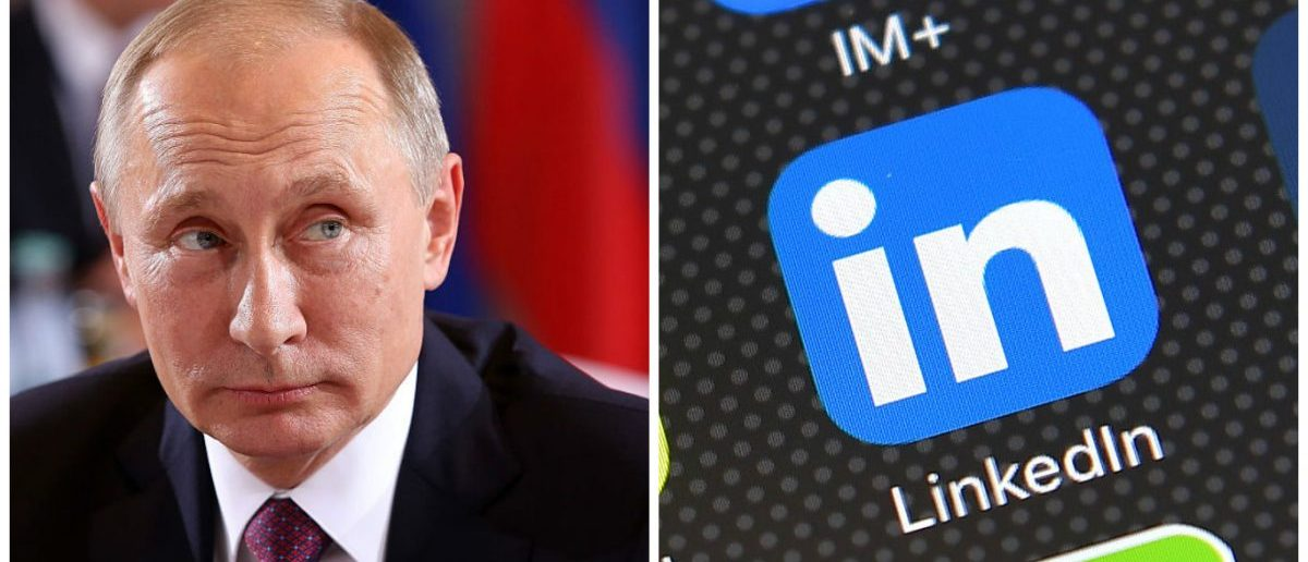 Left: Russian President Vladimir Putin attends a meeting to discuss the Ukrainian peace process at the German federal Chancellery on October 19, 2016 in Berlin, Germany. (Photo by Adam Berry/Getty Images) Right: The LinkedIn app logo is displayed on an iPhone on August 3, 2016 in London, England. (Photo by Carl Court/Getty Images)