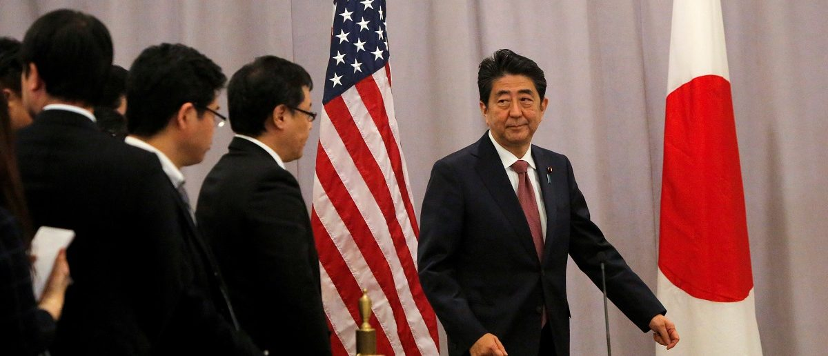 Japanese Prime Minister Shinzo Abe addresses media following a meeting with President-elect Donald Trump in Manhattan, New York, U.S., November 17, 2016. REUTERS/Andrew Kelly