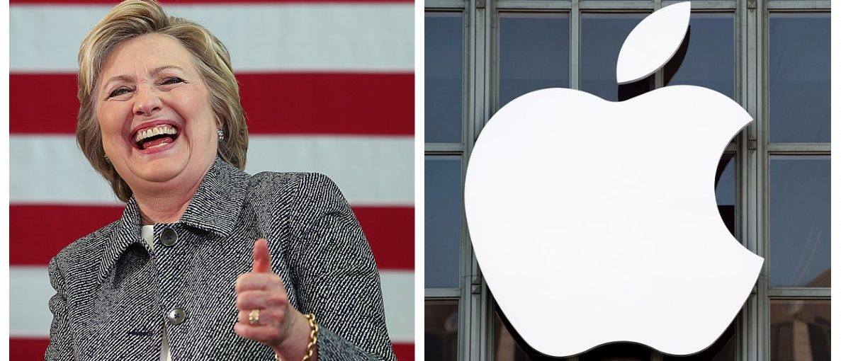 Hillary Clinton, Apple logo (Getty Images)