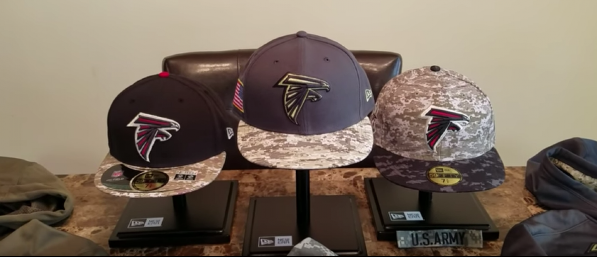 These are Atlanta Falcons salute to service caps (YouTube screenshot)