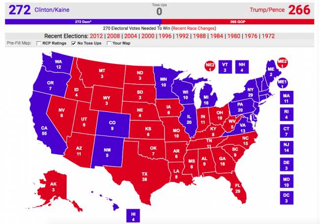 Screen grab from Real Clear Politics electoral map generator