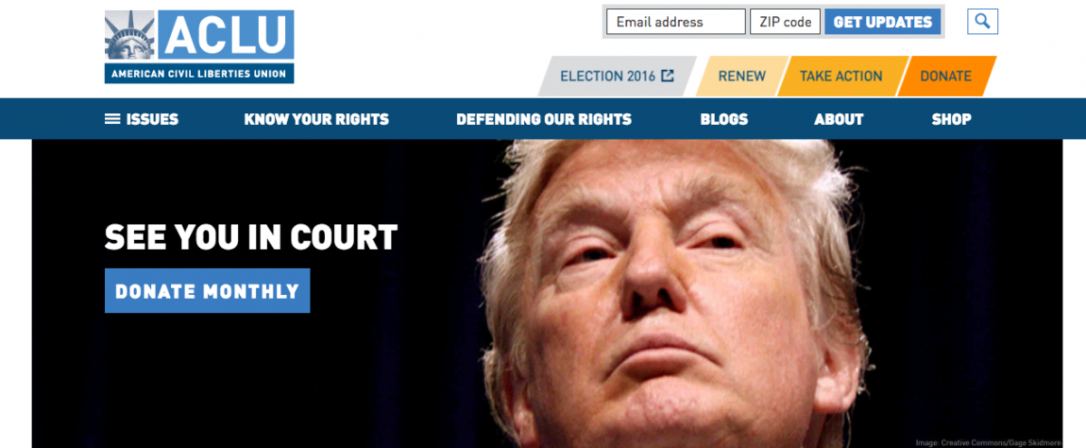 The ACLU website after Donald Trump's election to the presidency. Screen grab: https://www.aclu.org/