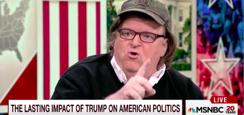 Michael Moore, screen capture from MSNBC