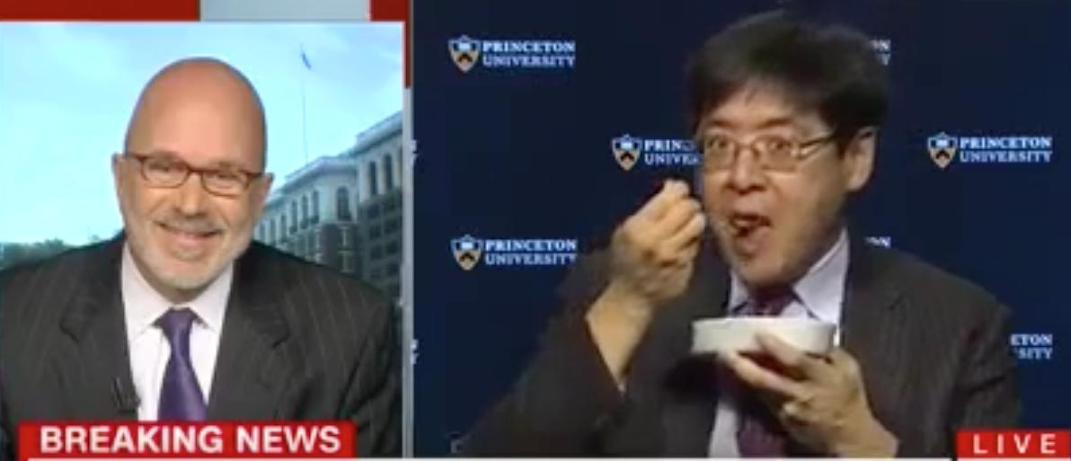 Princeton professor Sam Wang eats a bug on CNN. (Youtube screen grab)