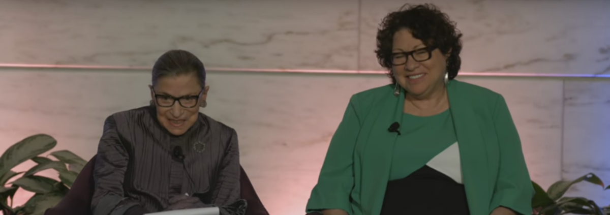 U.S. Supreme Court Justices Ruth Bader Ginsburg and Sonia Sotomayor speak at the National Museum of American History. YouTube screengrab: https://www.youtube.com/watch?v=2EbNWwqLGec