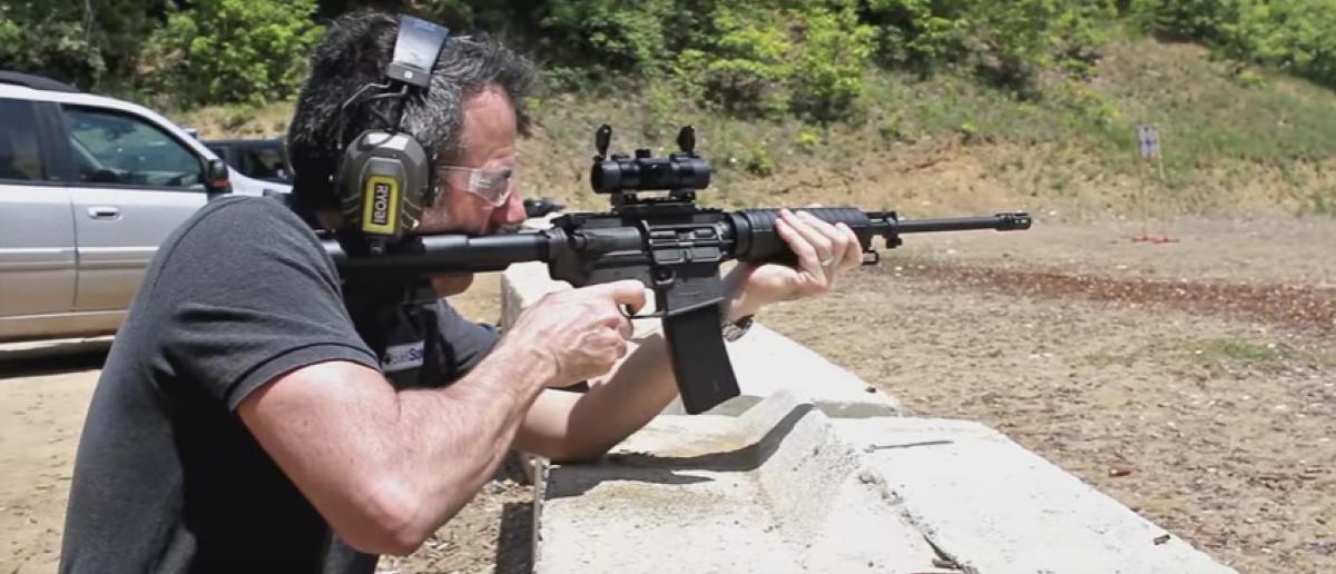 Tom shoots an AR-15 (YouTube screenshot)