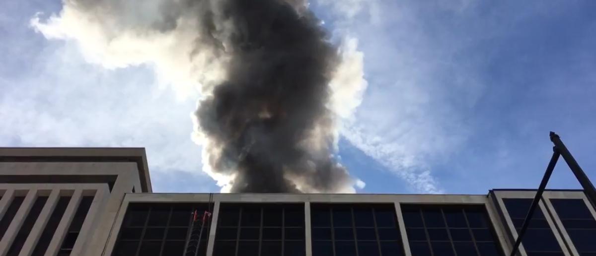 Election day fire in DC. (Sam Sweeney/Twitter/Screenshot)