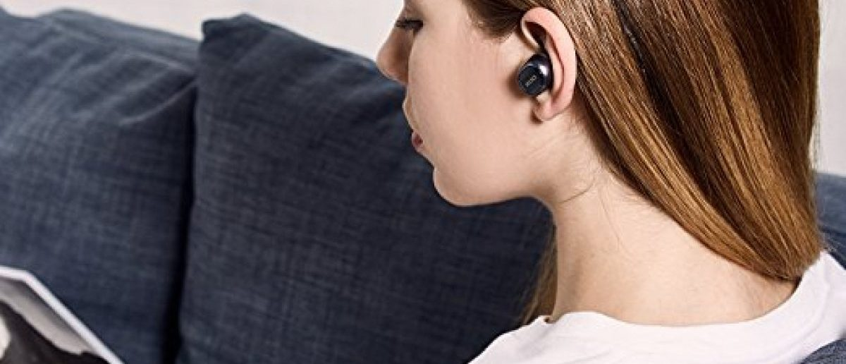 This girl is wearing the mini bluetooth earbuds, the first product pictured below (Photo via Amazon)
