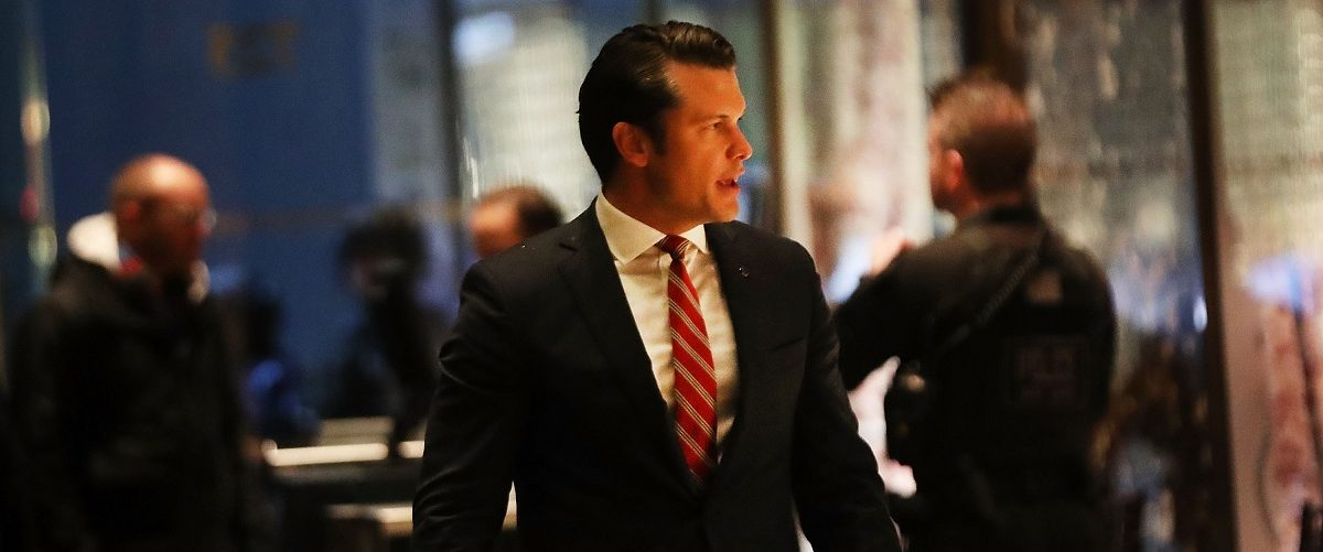 Fox News contributor Pete Hegseth arrives at Trump Tower on November 29, 2016 in New York City. President-elect Donald Trump and his transition team are in the process of filling cabinet and other high level positions for the new administration.  (Spencer Platt/Getty Images)