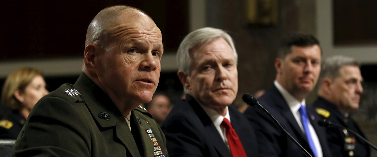 Neller testifies at the Senate hearing about women deployed in ground combat units on Capitol Hill in Washington