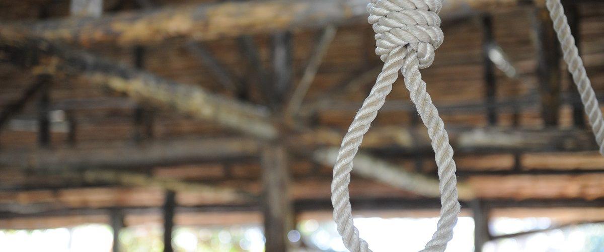 Noose hanging in front of a wooden backdrop. Geo Ilyin/Shutterstock.