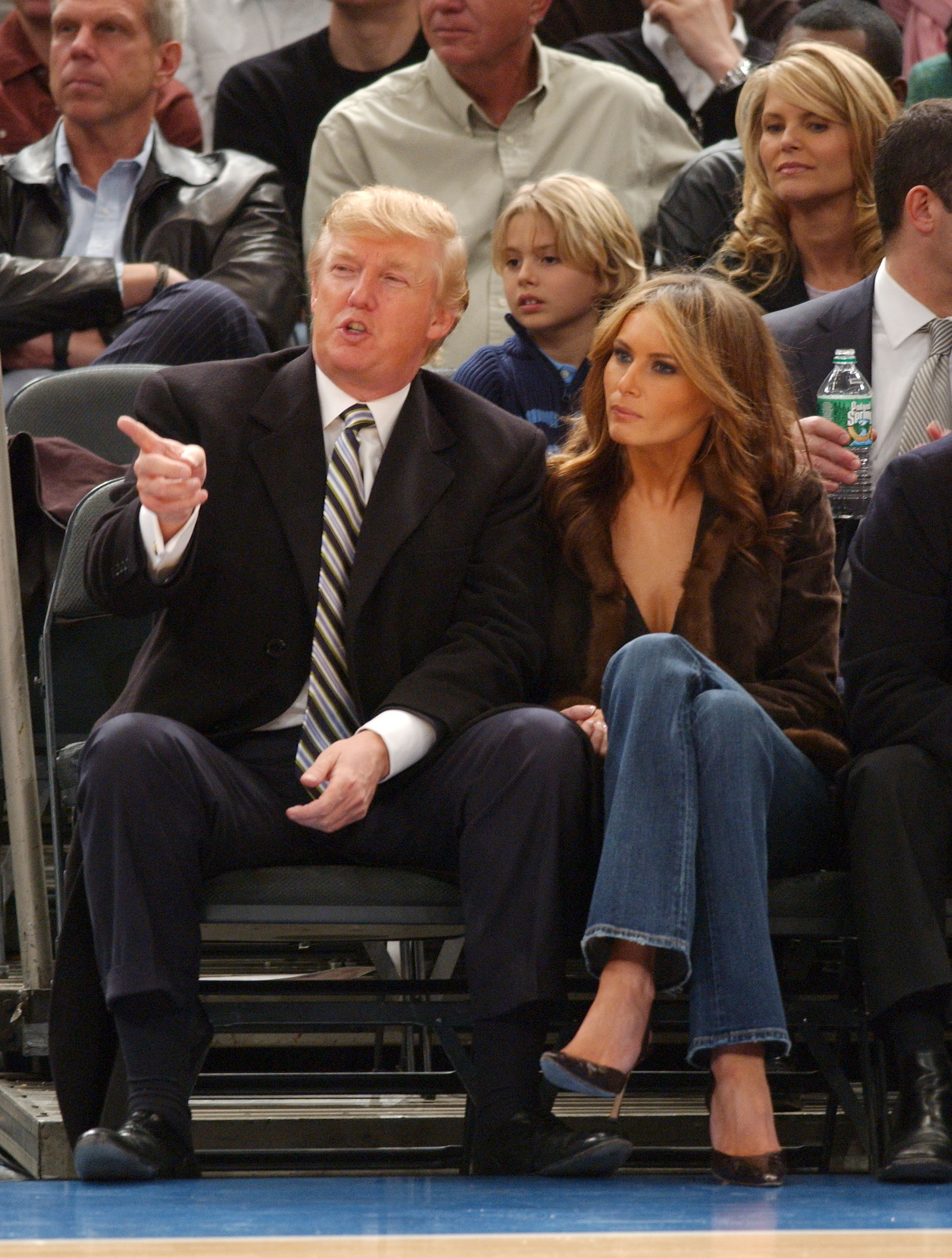 Donald Trump and his wife Melania watch the New York Knicks -vs- Miami Heat basketball game at Madison Square Garden in New York City. (Photo credit: Splash News)