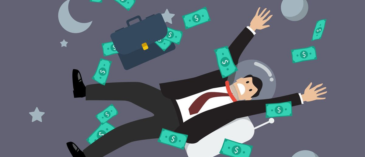 businessman floating in the space. Business concept (Shutterstock/Sira Anamwong)