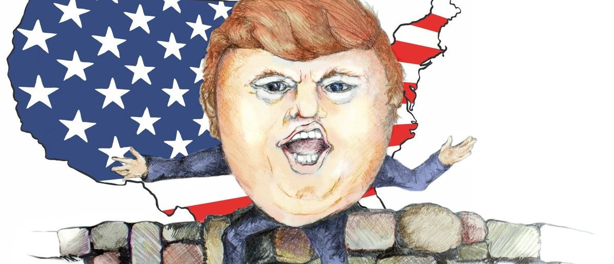 Cartoon of Trump's Wall (OneSmallSquare / Shutterstock.com)