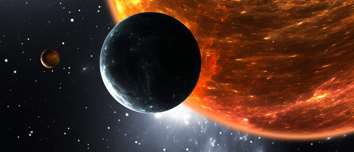 Extrasolar planets or exoplanets and red dwarf or red supergiant. 3D illustration (Shutterstock/Jurik Peter)