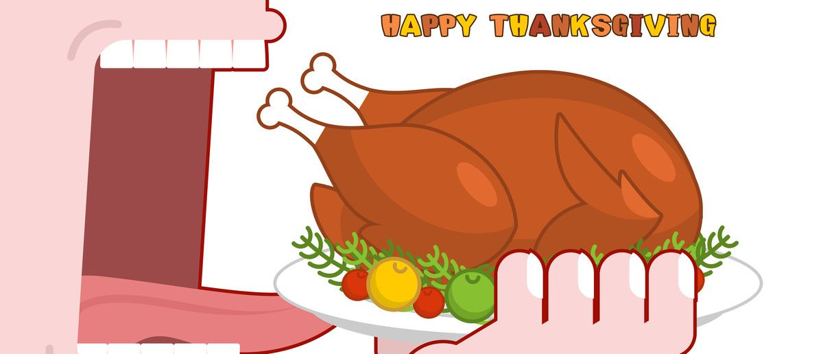 Happy Thanksgiving eat cooked turkey. (Shutterstock/MaryValery)