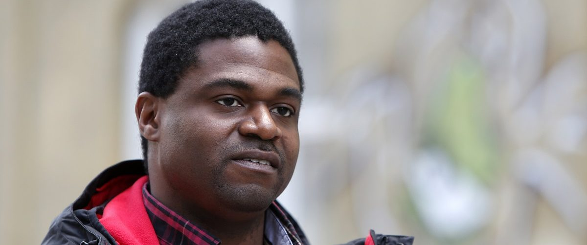 U.S. soldier Andre Shepherd poses during an interview in Munich February 26, 2015. Shepherd who deserted because he thought the Iraq war was illegal could have grounds for seeking asylum in Germany but only if he can show he would have been involved in war crimes, Europe's highest court said on Thursday. Shepherd, who served in Iraq between September 2004 and February 2005 as an Apache helicopter mechanic in the 412th Aviation Support Battalion, deserted in 2007 after being ordered to return to Iraq. He applied for asylum in Germany, where he was based. He remains in Germany. REUTERS/Michaela Rehle.