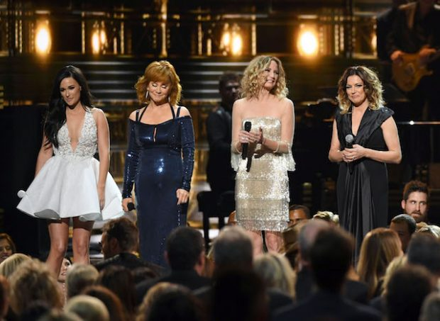 Stage at the 2016 CMA Awards, 'Country Music's Biggest Night', held at Bridgestone Arena in Nashville, Tennessee. <P> Pictured: Kacey Musgraves, Reba McEntire, Jennifer Nettles, Miranda McBrid <B>Ref: SPL1386122 051116 </B><BR /> Picture by: AdMedia / Splash News<BR /> </P><P> <B>Splash News and Pictures