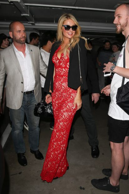 Paris Hilton arrives at The Project in Melbourne. Paris wore a red lacy dress with a black jacket as she greeted fans upon arrival <P> Pictured: Paris Hilton <B>Ref: SPL1395162 171116 </B><BR /> Picture by: Splash News<BR /> </P><P> <B>Splash News and Pictures</B><BR /> Los Angeles: