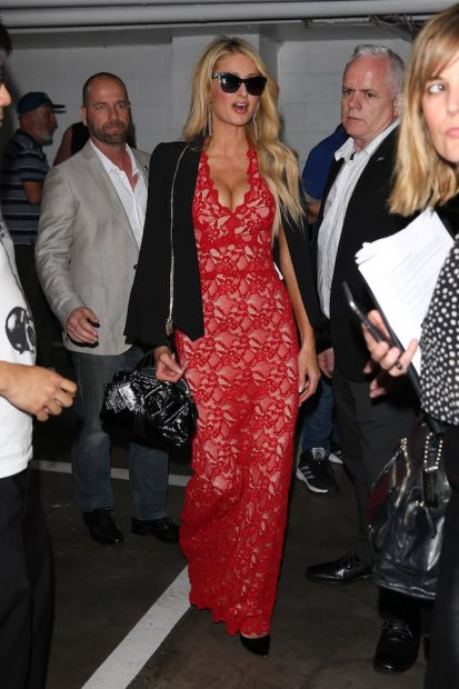 Paris Hilton arrives at The Project in Melbourne. Paris wore a red lacy dress with a black jacket as she greeted fans upon arrival <P> Pictured: Paris Hilton <B>Ref: SPL1395162 171116 </B><BR /> Picture by: Splash News