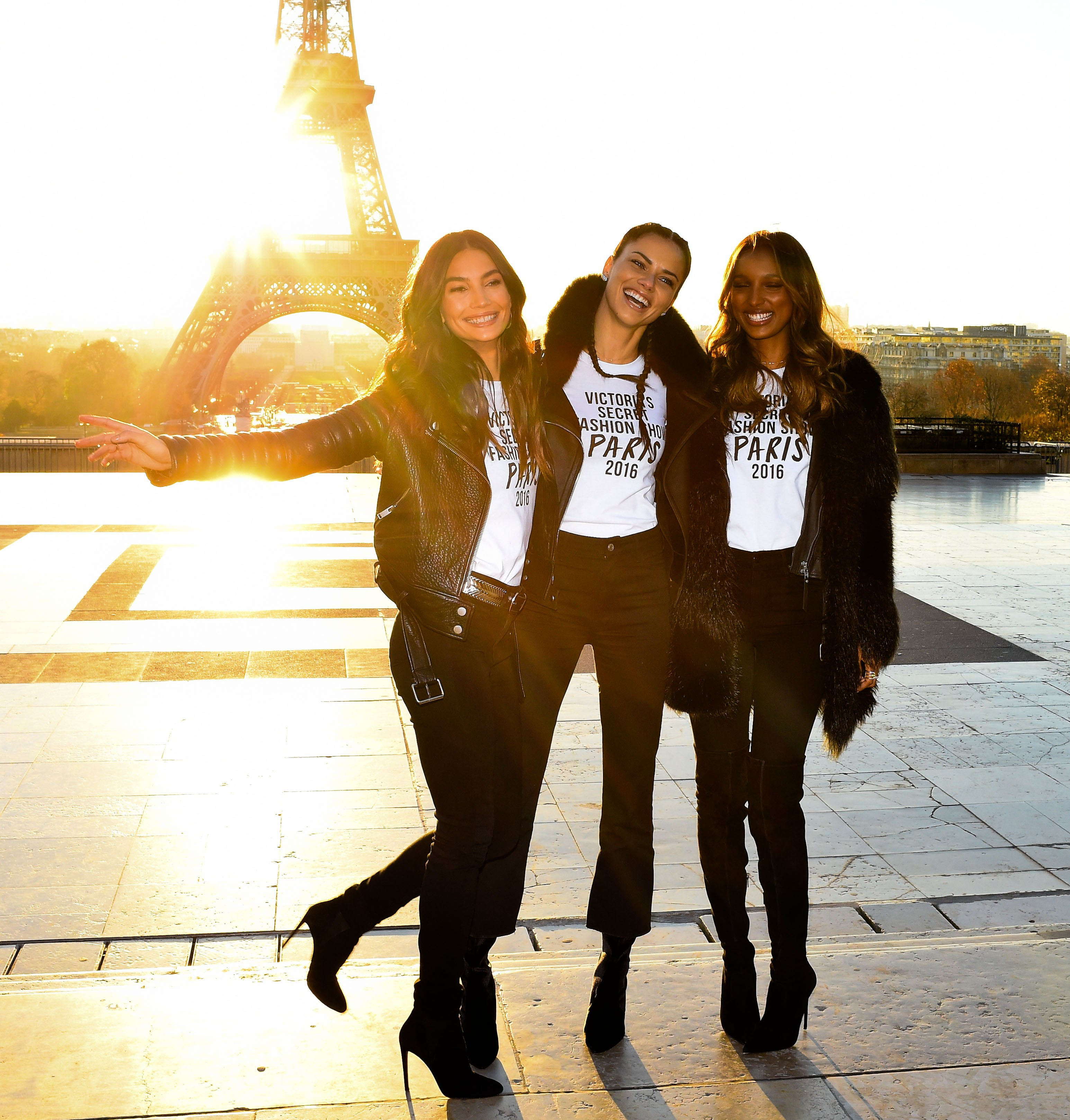 The Victoria Secret Angels are seen at a photo call at the Eiffel Tower (Photo credit: Splash News)