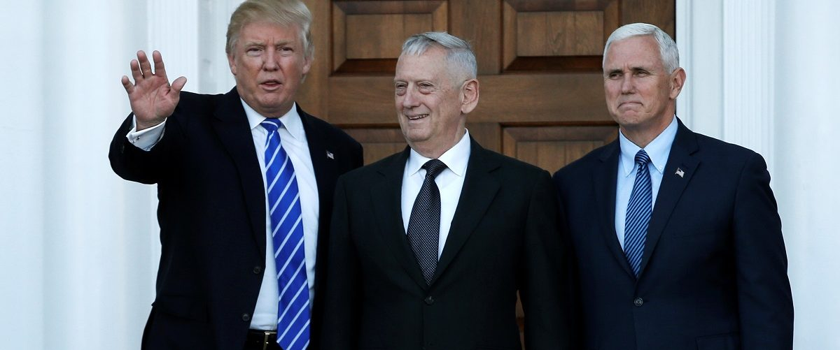U.S. President-elect Donald Trump and Vice President-elect Mike Pence greet retired Marine General James Mattis for a meeting at the main clubhouse at Trump National Golf Club in Bedminster