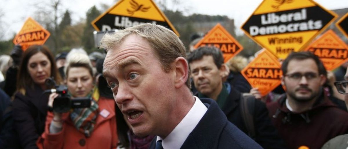 Liberal Democrats party leader Tim Farron speaks to the media after Sarah Olney's victory in the Richmond Park by-election, in London, Britain December 2, 2016. REUTERS/Peter Nicholls