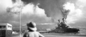 Archive photo of the damaged battleship USS California at Pearl Harbor