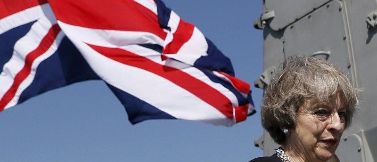 Britain's Prime Minister May visits HMS Ocean in Manama
