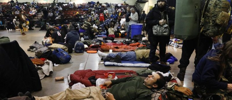 Activists and veterans take shelter at the Prairie Knights Casino due to a blizzard on the Standing Rock Indian Reservation, near Fort Yates, North Dakota