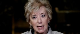 Linda McMahon speaks to members of the news media after meeting with U.S. President-elect Donald Trump at Trump Tower in New York