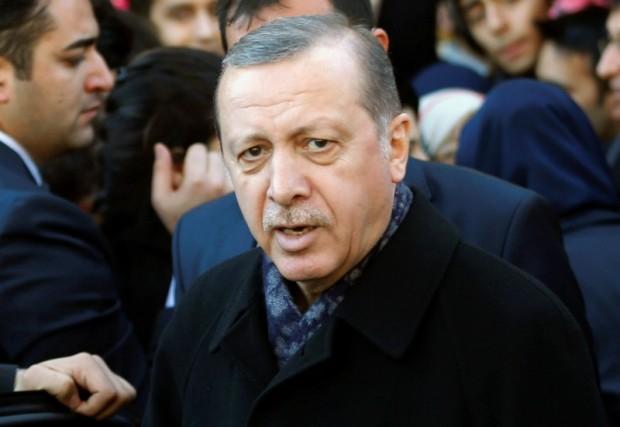 Turkish President Tayyip Erdogan leaves Eyup Sultan mosque in Istanbul, Turkey