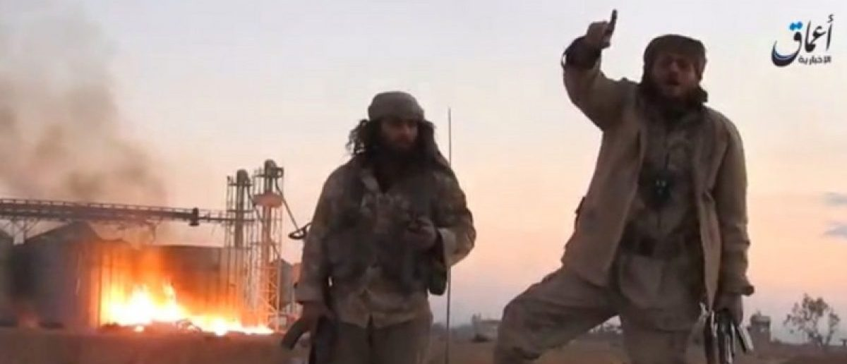 A still image taken from a video released by Islamic State-affiliated Amaq news agency, said to be in Palmyra, on December 11, 2016, purports to show Islamic State fighters in front of silos on fire and said to have been taken over by them. Handout via REUTERS TV