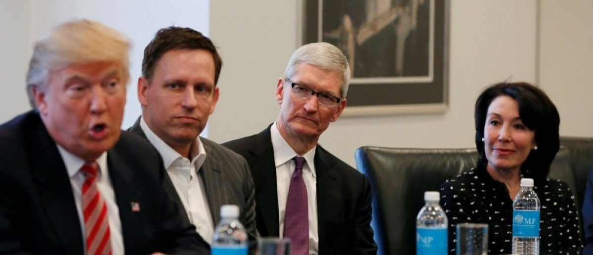 U.S. President-elect Donald Trump speaks as (2nd L to R) PayPal co-founder and Facebook board member Peter Thiel, Apple Inc CEO Tim Cook and Oracle CEO Safra Catz look on during a meeting with technology leaders at Trump Tower in New York U.S., December 14, 2016. REUTERS/Shannon Stapleton