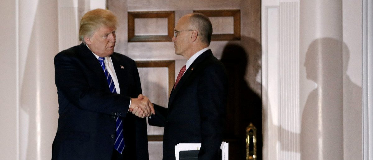 Andy Puzder, CEO of CKE Restaurants, shakes hands with U.S. President-elect Donald Trump after their meeting at the main clubhouse at Trump National Golf Club in Bedminster, New Jersey, U.S., November 19, 2016. REUTERS/Mike Sega