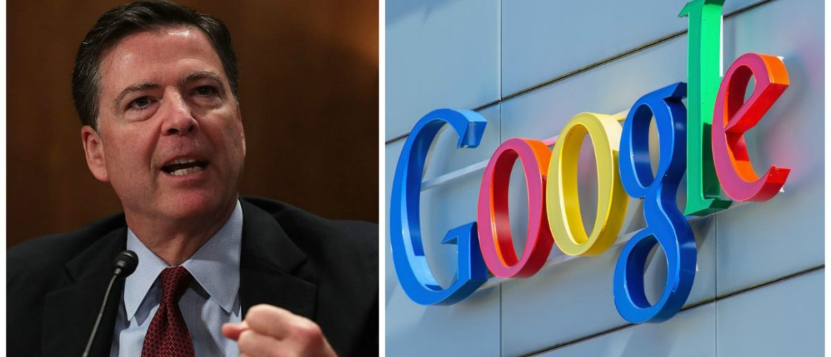 Left: FBI Director James Comey testifies during a hearing before the Senate Homeland Security and Government Affairs Committee September 27, 2016 on Capitol Hill (Photo by Alex Wong/Getty Images) Right: Google sign on the wall of the Google office building (Denis Linine/Shutterstock)