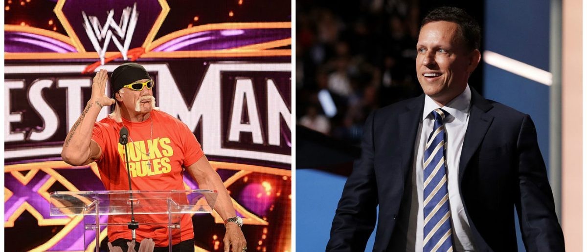 Left: NEW YORK, NY - APRIL 01: Hulk Hogan attends the WrestleMania 30 press conference at the Hard Rock Cafe New York on April 1, 2014 in New York City. (Photo by Dimitrios Kambouris/Getty Images) Right: CLEVELAND, OH - JULY 21: Peter Thiel, co-founder of PayPal, walks on stage to deliver a speech during the evening session on the fourth day of the Republican National Convention. (Photo by Chip Somodevilla/Getty Images)