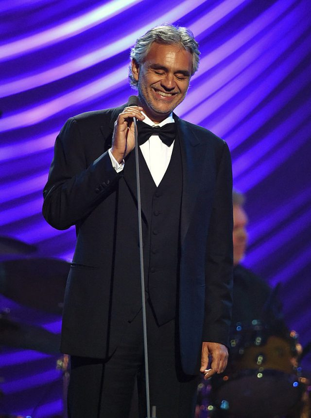 Honoree Andrea Bocelli performs during the 19th annual Keep Memory Alive 'Power of Love Gala' benefit for the Cleveland Clinic Lou Ruvo Center for Brain Health honoring Andrea Bocelli and Veronica Bocelli at MGM Grand Garden Arena on June 13, 2015 in Las Vegas. (Photo by Ethan Miller/Getty Images for Keep Memory Alive)