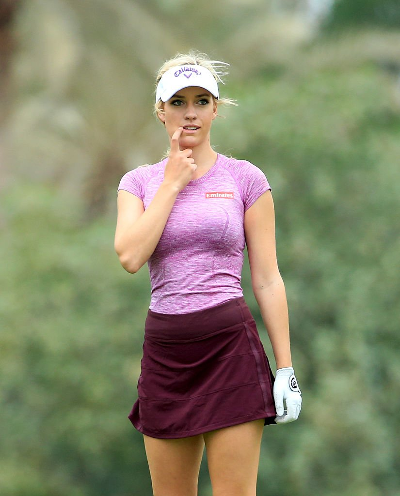 DUBAI, UNITED ARAB EMIRATES - DECEMBER 07: Paige Spiranac of the United States in action during her practice round as a preview for the 2015 Omega Dubai Ladies Masters on the Majlis Course at The Emirates Golf Club on December 7, 2015 in Dubai, United Arab Emirates. (Photo by David Cannon/Getty Images)