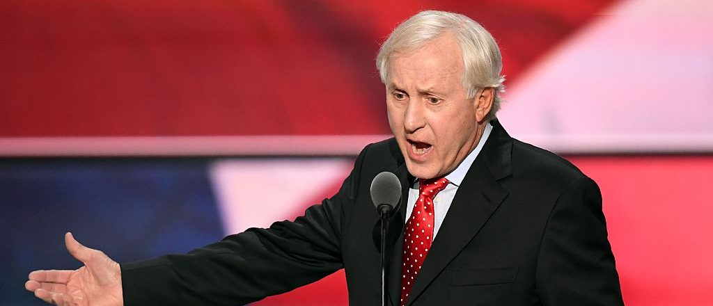 Former NFL Quarterback Fran Tarkenton speaks on the last day of the Republican National Convention on July 21, 2016, in Cleveland, Ohio. / AFP / Jim Watson (Photo credit should read JIM WATSON/AFP/Getty Images)