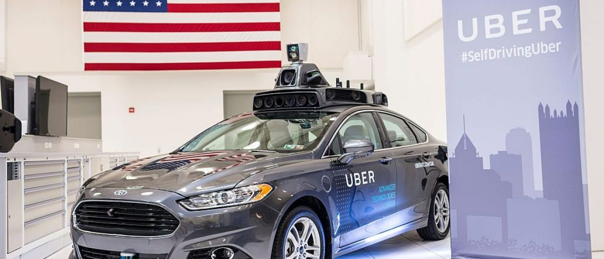 A pilot model Uber self-driving car is displayed at the Uber Advanced Technologies Center on September 13, 2016 in Pittsburgh, Pennsylvania. (Photo credit: ANGELO MERENDINO/AFP/Getty Images)
