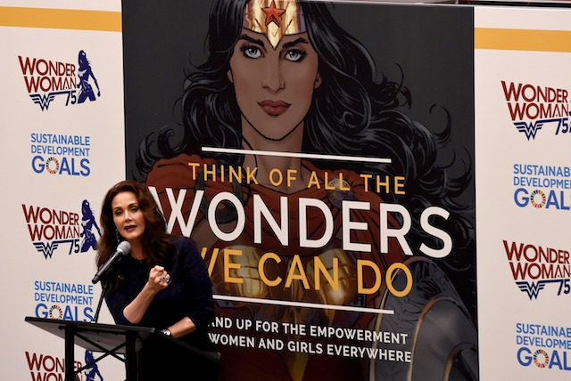 Actress Lynda Carter speaks during a ceremony as the UN names the comic character Wonder Woman its Honorary Ambassador for the Empowerment of Women and Girls during a ceremony at the United Nations Economic and Social Council Chamber on October 21, 2016, in New York. Carter played Wonder Woman in the 1970s television show. The honorary title comes as Wonder Woman turns 75 years old. / AFP / TIMOTHY A. CLARY (Photo credit should read TIMOTHY A. CLARY/AFP/Getty Images)