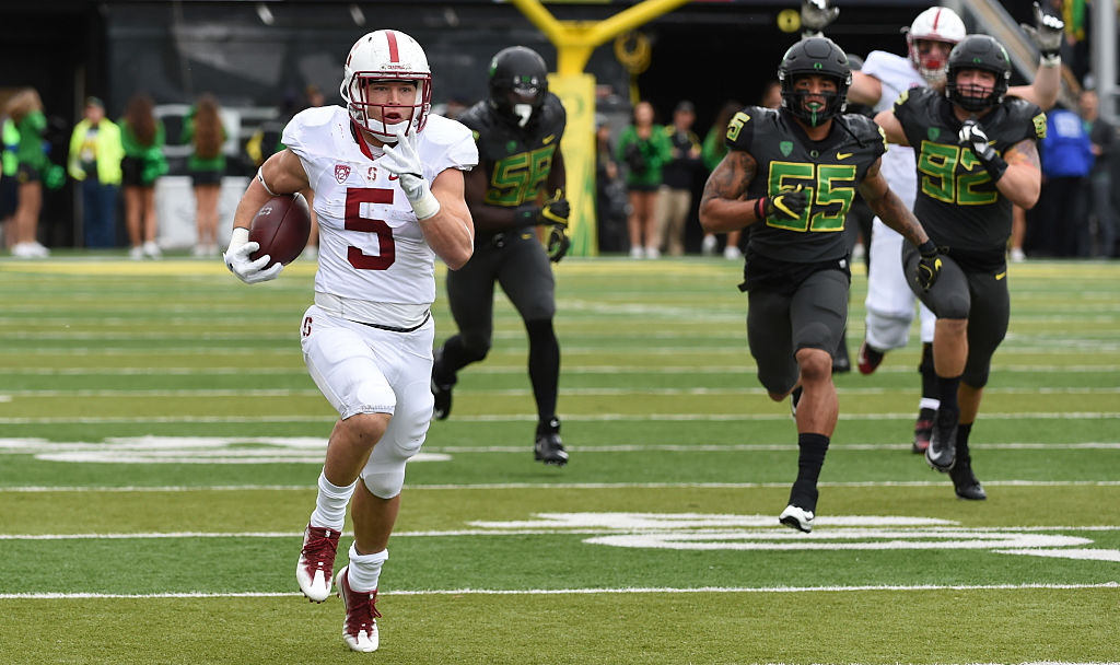 Running back Christian McCaffrey #5 of the Stanford Cardinal heads for the end zone on a long touchdown run during the first quarter of the game against the Oregon Ducks at Autzen Stadium on November 12, 2016 in Eugene, Oregon. (Photo by Steve Dykes/Getty Images)