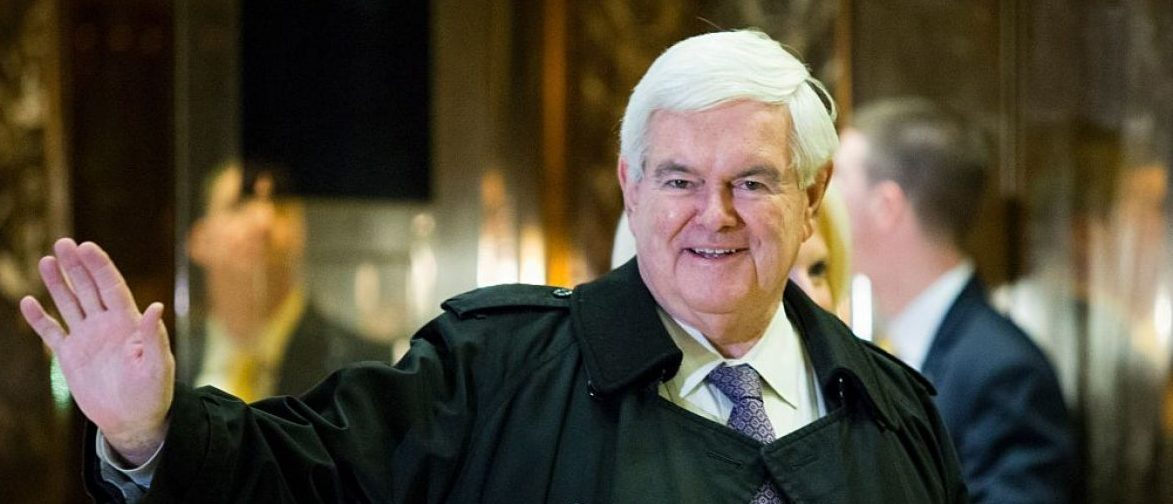 Former Speaker of the House, Newt Gingrich, arrives at Trump Tower on another day of meetings scheduled with President-elect Donald Trump on November 21, 2016 in New York. / AFP / Eduardo Munoz Alvarez (Photo credit should read EDUARDO MUNOZ ALVAREZ/AFP/Getty Images)