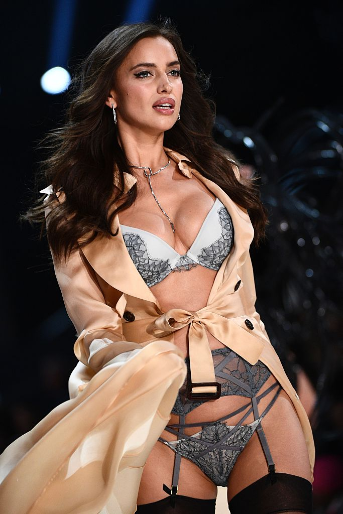 Russian model Irina Shayk presents a creation during the 2016 Victoria's Secret Fashion Show at the Grand Palais in Paris on November 30, 2016. (Photo credit: MARTIN BUREAU/AFP/Getty Images)