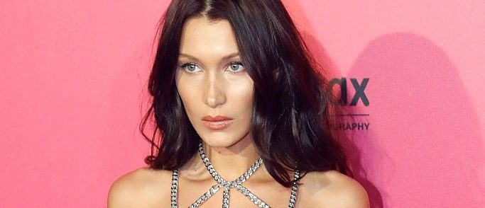 Bella Hadid poses during a photocall after taking part in the 2016 Victoria's Secret Fashion Show at the Grand Palais in Paris on November 30, 2016. (PATRICK KOVARIK/AFP/Getty Images)