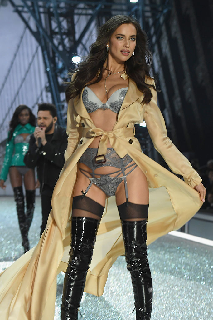 Irina walks the runway at the Victoria's Secret Fashion Show in Paris. (Photo credit: Getty Images)