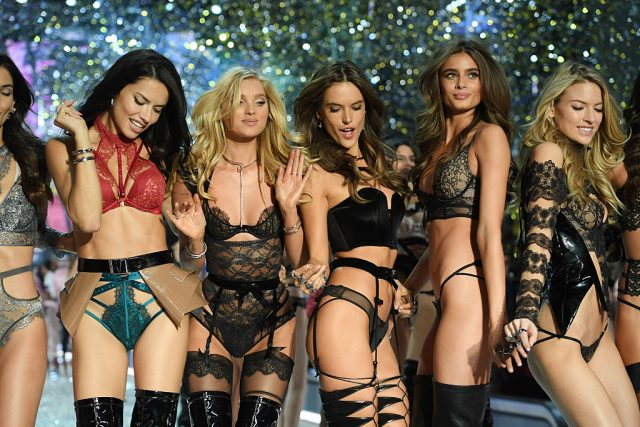 PARIS, FRANCE - NOVEMBER 30: Adriana Lima,Elsa Hosk, Alessandra Ambrosio, Taylor Hill and Martha Hunt walk the runway during the 2016 Victoria's Secret Fashion Show on November 30, 2016 in Paris, France. (Photo by Dimitrios Kambouris/Getty Images for Victoria's Secret)