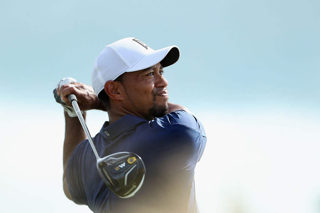 Tiger Woods of the United States hits his tee shot on the 13th hole during round two of the Hero World Challenge at Albany, The Bahamas on December 2, 2016 in Nassau, Bahamas.
