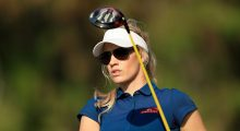 DUBAI, UNITED ARAB EMIRATES - DECEMBER 05:  Paige Spiranac of the United States in action during her practice round as a preview for the 2016 Omega Dubai Ladies Masters on the Majlis Course at the Emirates Golf Club on December 5, 2016 in Dubai, United Arab Emirates.  (Photo by David Cannon/Getty Images)
